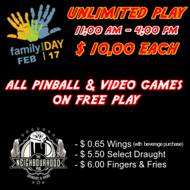 Family Day Free Play @ Ottawa Pinball Arcade